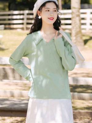 Green Asymmetric Cut Button Line Shirt