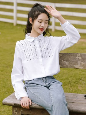 Half Top Embroidery White Shirt (5)