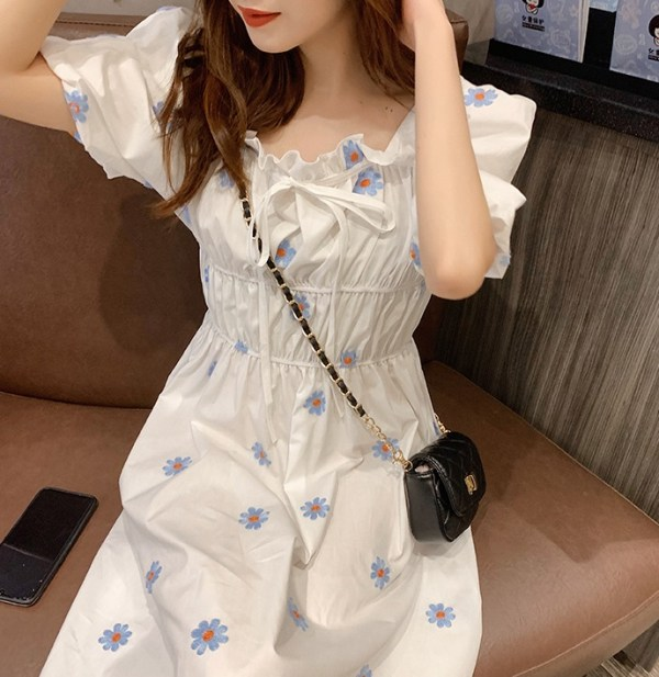 White Puffed Sleeve Dress With Embroidered Flowers   Hyojung – Oh My Girl