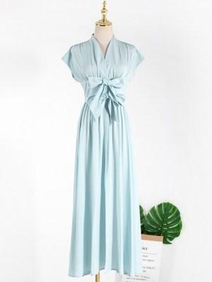 Jennie – BlackPink Blue Flared Long Dress (13)