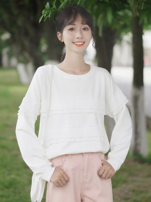 Layered Ruffles White Sweater (5)