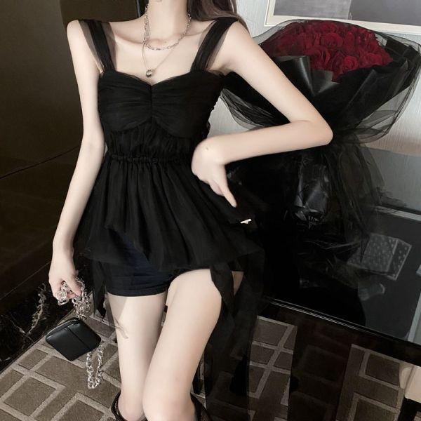 Black Sleeveless Tulle Top   Lisa – BlackPink