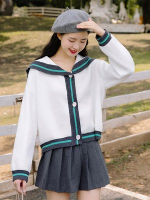 Navy Collar Blue Outlined Cardigan (4)