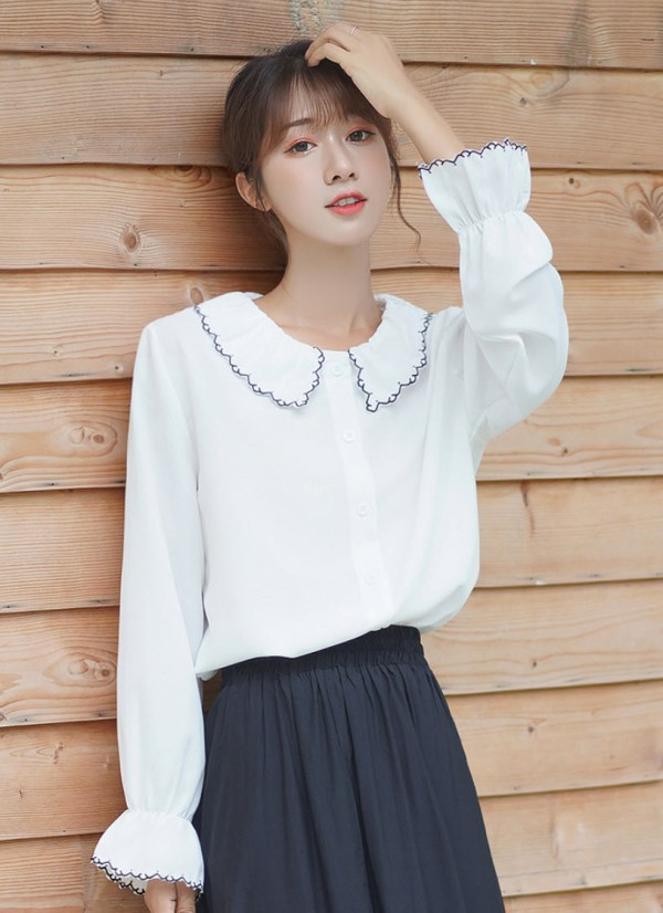 Outlined Stitch Collar & Sleeves Shirt