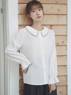 Outlined Stitch Collar & Sleeves Shirt (6)