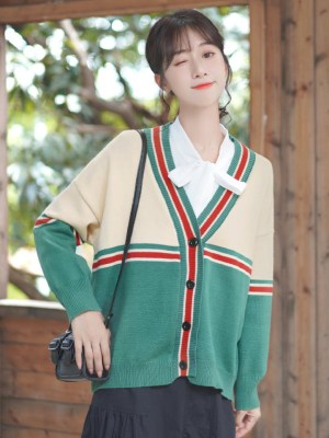 Red And Green Striped Buttoned Cardigan (2)
