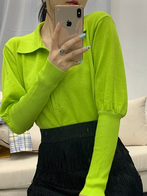 Rose – BlackPink Apple Green Balloon Sleeve Top (15)