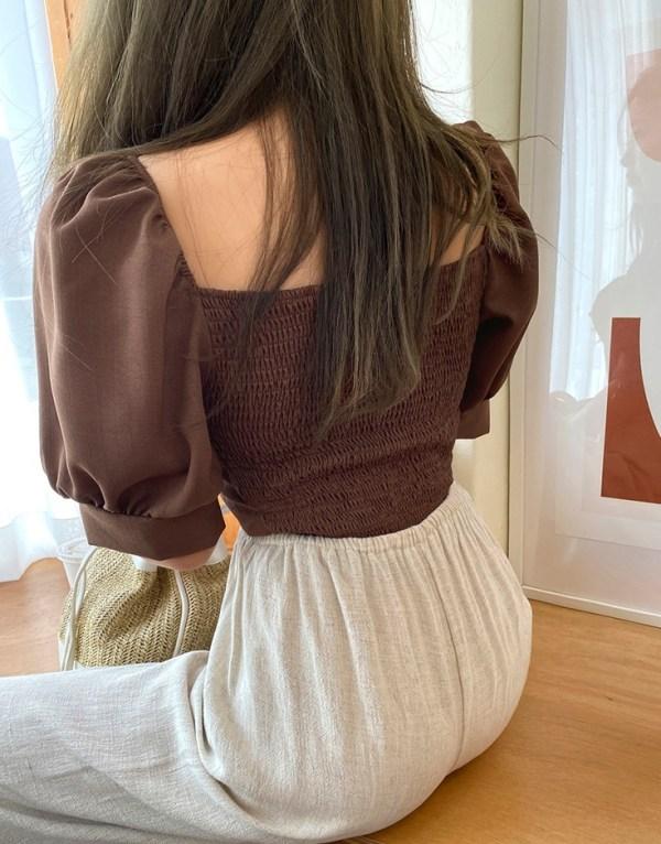Brown Puffed Sleeve Blouse | Rose – BlackPink