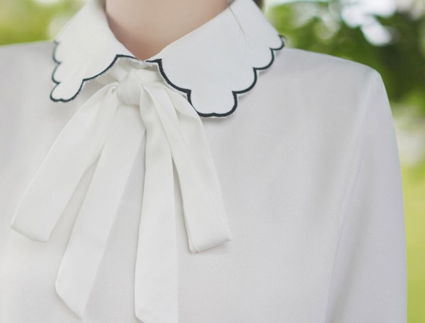 Ruffled Outlined Collar And Cuffs Shirt With Bow