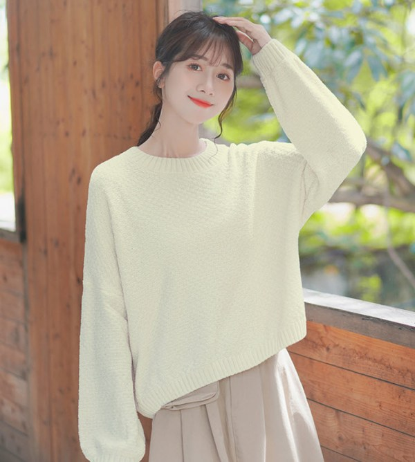 Simple Fall Apricot Knit Sweater