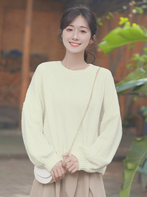 Simple Fall Apricot Knit Sweater (6)