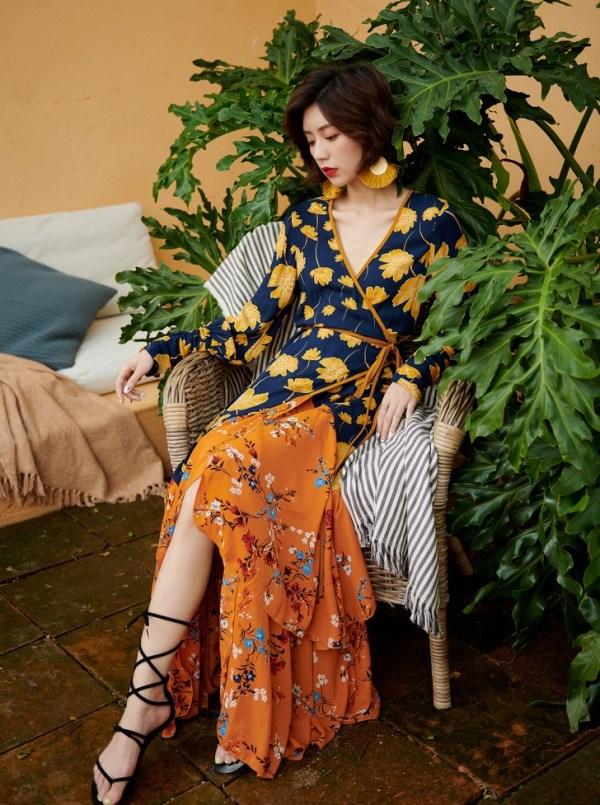 Boho Floral Print Beach Dress | Soojin – (G)I-DLE