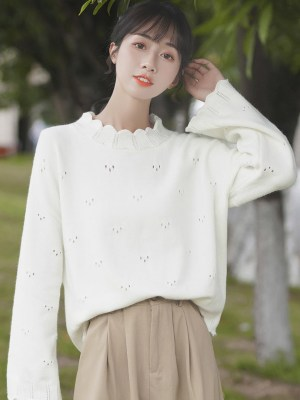 Trio Holes Patterned White Sweater (9)