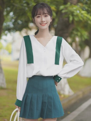 V-Neck Green Accent Blouse (9)