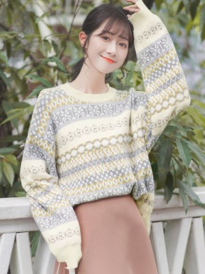 Wintery And Fluffy Patterned Sweater (3)