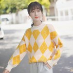Yellow Orange Diamond Pattern Sweater