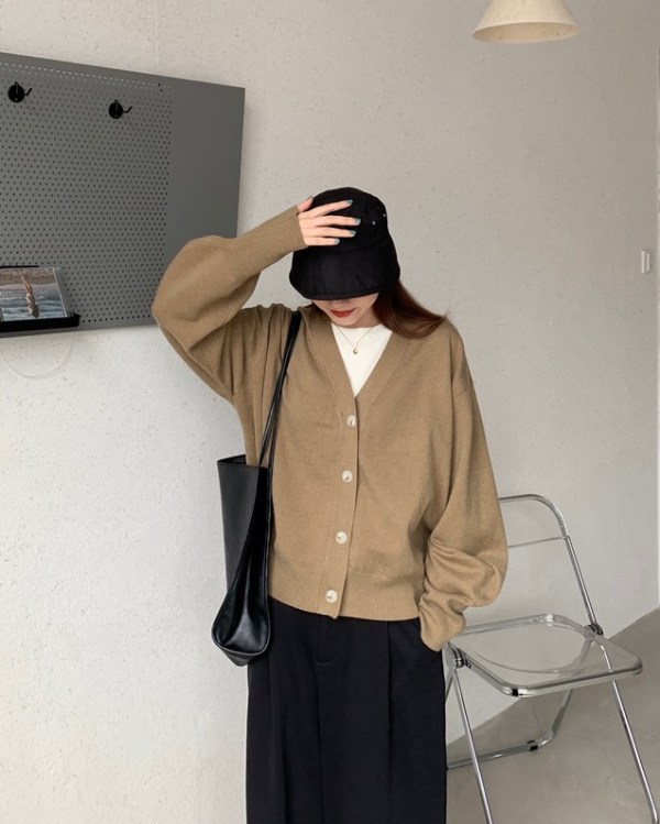 Khaki Knitted Cardigan | An Jeong‑Ha – Record Of Youth