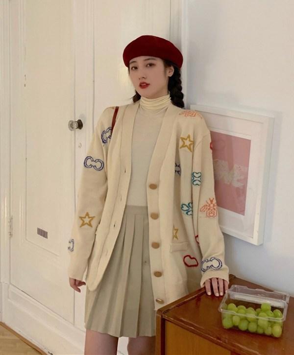 Beige Cardigan With Embroidered Symbols | J-Hope – BTS
