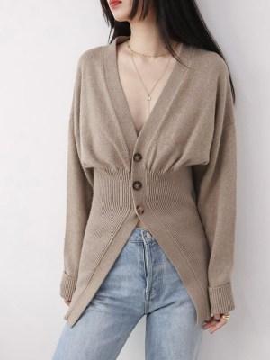 Jisoo Greyish Camel Tone Half Buttoned Cardigan (3)