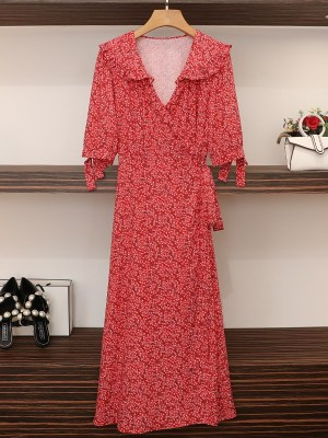 Joy – Red Velvet Red Floral Wrap Dress (13)