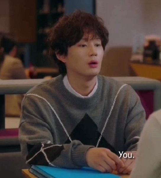 Grey Sweater With Diamond-Shaped Pattern | Kim Jin-Woo – Record Of Youth