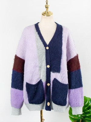 Knitted Colorblock Cardigan (5)