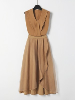 Ko Moon‑Young – It's Okay Not To Be Okay Brown Ruffled Top and Skirt Set (15)