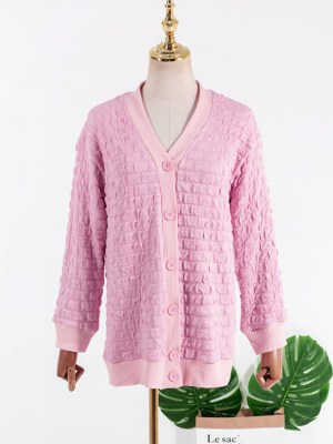 Ko Moon-Young Pink Square Blocks Designed Cardigan (2)