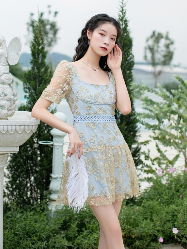 Floral Embroidered Mesh Dress | Momo – Twice