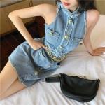 Halter Neck Denim Dress With Chain | Tzuyu – Twice
