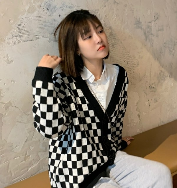 Black And White Checkerboard Cardigan | Yugyeom – GOT7