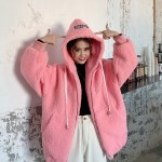 Pink Zip-Up Fluffy Hoodie | Yuqi – (G)I-DLE