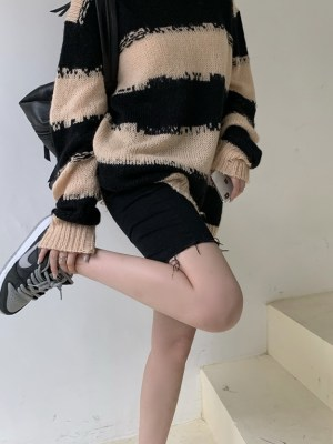 Distressed Sweater With Stripe Pattern Jisoo -BlackPink (7)