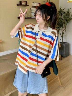 Hyungwon – MONSTA X Colorful Stripe Patterned Shirt (9)