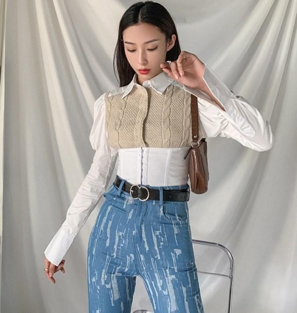 Puffed Sleeve Knit Accent Top | Jisoo -BlackPink