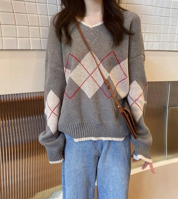 Arygle Patterned Grey Sweater | Mingyu – Seventeen
