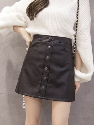 Yeri – Red Velvet Black Leather Skirt (11)