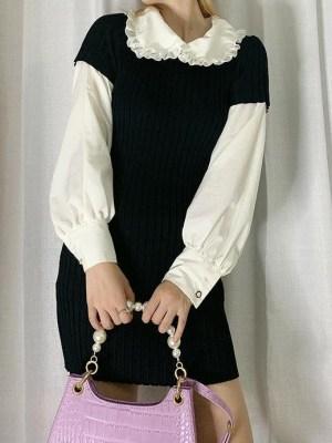 Jennie – BlackPink Black Doll Collar Knitted Dress (14)