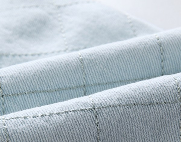 Light Blue Folded Waist Grid Jeans   Jennie – BlackPink