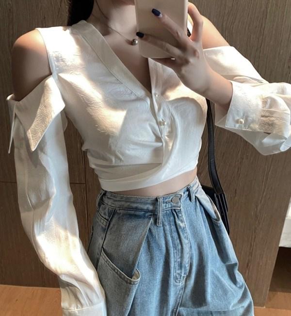 White Cutout Shoulder Shirt | Jisoo -BlackPink