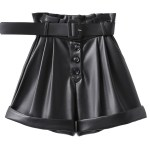 Belted High Waist Leather Shorts | Lisa – BlackPink