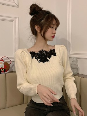 Momo – Twice Beige Puffed Sleeve Tie Back Sweater (1)