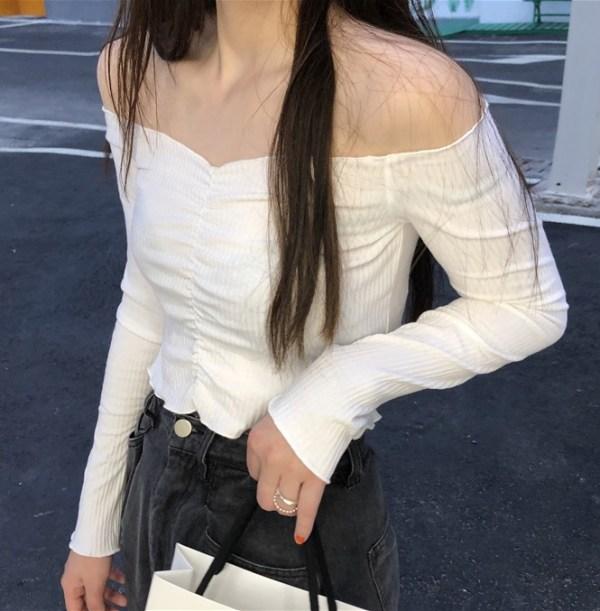 White Long Sleeve Lettuce Top | Sana – Twice