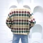 Diamond Plaid V-Neck Knit Sweater | Taehyung- BTS