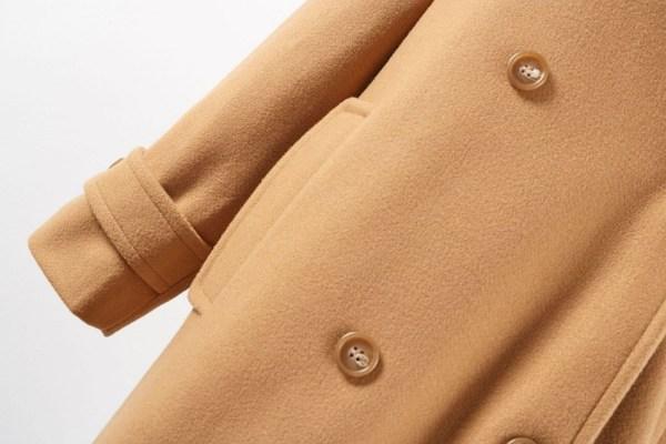 Double Breasted Woolen Khaki Coat | Hyuna