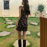 Floral Sling Ruffled Black Dress | Hyuna