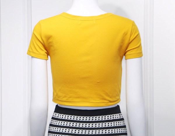 Yellow Short Sleeved Crop Top | Hyuna