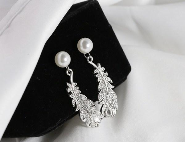 Silver Feather Pearl Earrings | IU – Hotel Del Luna