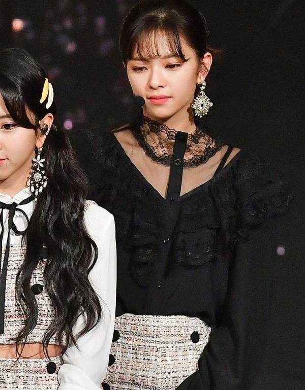Sheer Ruffled Lace Neckline Shirt   Jeongyeon – Twice