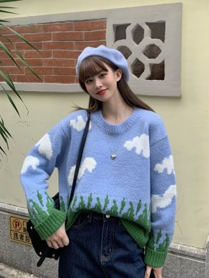 Jisoo – BlackPink Cute Cloud Knitted Sweater (9)